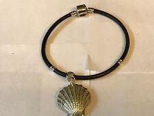 Concha De Mar TG127 de estaño bien inglés en una pulsera serpiente de imitación de cuero