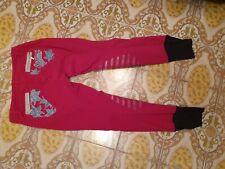 Pantaloni Animo Equitazione Rosa Lampone Brillantini Ricamo Tg.S Reithose...