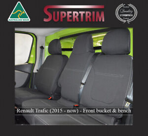 FRONT Bucket + Bench Seat Cover Fit Renault Trafic (2015-on) Neoprene Waterproof