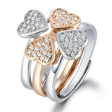 Stackable 3pcs Heart Silver & Gold Filled Adjustable Crystal Women Lady Ring BOX