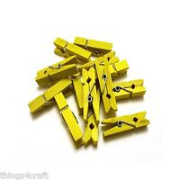 Mini Pegs 3.5cm  Yellow Small Wooden Peg Clip Clamp Wood - UK Seller