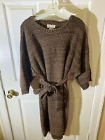 French Creek Sheep And Wool Women's Brown Knit Cotton Dress With Tie Belt Large