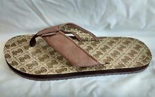 Womens Ladies Guess Brown Flat Leather Toe Post Summer Sandals Size 8/42 Used