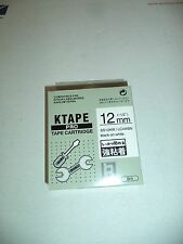 "10 K-Sun Black  White Tape 1/2"" K Sun 12mm LC4WBN EPSON COMPATIBLE SS12KW KTAPE"