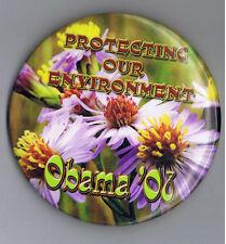 "Barack Obama 2008 President 3"" Political Pinback Button Environment Flower Power"