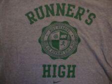 Nike Apparel Runner's High Nike Running Fan Gray Cotton T Shirt Size XL