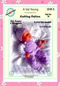 DOLLS KNITTING PATTERNS no 281 13-14Ins A Daisy May Pattern
