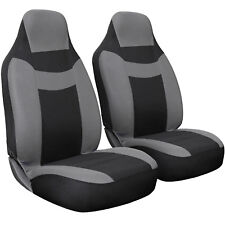 Seat Cover Complete Set for Car Truck SUV Van -Flat Poly Cloth Fabric- 2 PC Gray