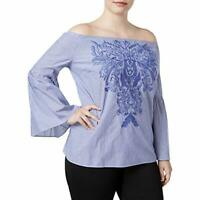 INC International Concepts Size 1X Indigo Embroidery Off The Shoulder Top 566