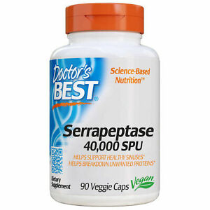 Doctor's Best  High Potency Serrapeptase, 40,000 SPU, 90 Veggie Capsules USA*