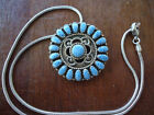 VINTAGE SIGNED BB STERLING SILVER ZUNI INDIAN PENDANT NECKLACE WITH DENIM LAPIS