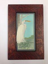 Medicine Bluff Great White Egret Tile Arts & Crafts Mission Style Oak Park Frame