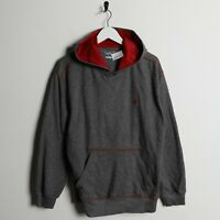 Vintage Kids CHAMPION Small Logo Polyester Hoodie Sweatshirt Red Grey | XL