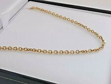 """18ct GOLD DIAMOND CUT CABLE NECKLACE 750 yellow 18"""" chain 2mm oval links 8.1g"""