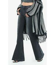 """EXPRESS 0 BLACK BELL FLARE MID RISE JEANS Raw Released Hems (Long 35"""" Inseam)"""