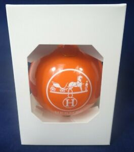 RARE Vintage AUTHENTIC HERMES Orange CHRISTMAS BALL Ornament ~NEW IN BOX ~