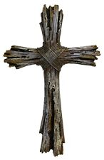 Rustic Decorative Driftwood Wall Cross - Faux Weathered Wood