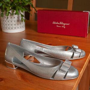 Salvatore Ferragamo Vara Metallic Silver Jelly Flat Heels - Size 11 C