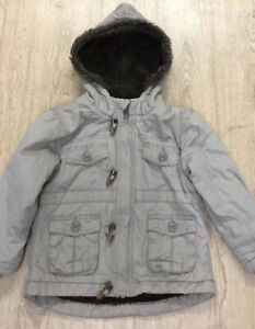 George Age 2-3 Stone Coloured Hooded Fleece Lined Winter Coat Fur Trimmed Hood
