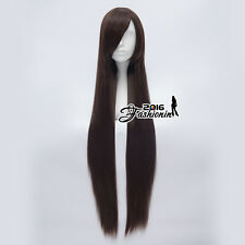 Anime 100CM Dark Brown Long Straight Women Basic Hair Cosplay Synthetic Wig+Cap