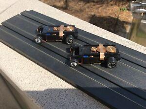 Pair of T-DASH Chassis w/Chrome Wheels, blue/wht magnets, 2-Lam Armature, BLACK