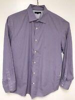 Banana Republic Men's Shirt Long Sleeve Large Purple White Check Slim Fit