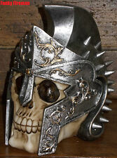 Skull in Spiked Gladiator Helmet - Fantasy Gothic ornament Gift  - Steampunk
