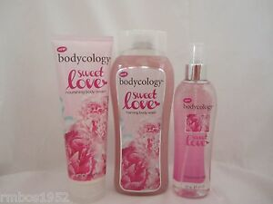 Bodycology Sweet Love Foaming Body Wash Body Cream & Fragrance Mist NEW 3 Pcs