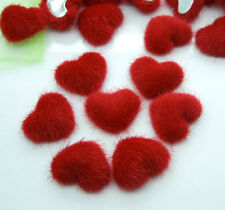 100Pcs Red Color Heart Velvet Fabric Covered Cabochon Flatbacks Scrapbook Craft
