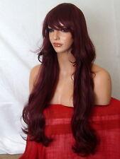 Vino Rojo De Moda Para Dama Peluca Extra Largo Ondulado y Rizado Flecos Mujer Damas Peluca J16