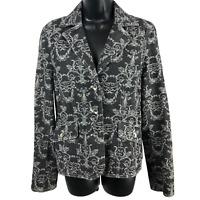 Axcess Black & Gray Floral Denim Button Front Jean Jacket Women's Size 10