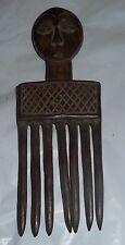 """AFRICAN """"Zaire"""" Woman Figure circa 1900 Hair Comb Ornament Carved Wood 9"""" T 3"""" W"""