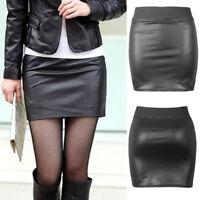 Skirt Women Sexy Black PU Leather Pencil Bodycon High Waist Mini Dress Short NEW