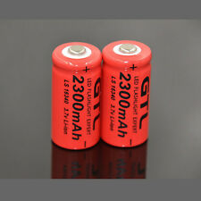 2x 2300mAh 16340 CR123A CR123 Rechargeable Li-ion Batteries For Flashlight Torch