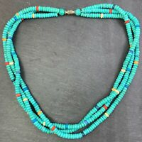 VINTAGE BEADED NECKLACE FAUX TURQUOISE BEADS BOHO COLORFUL