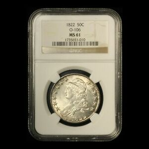 1822 50c Capped Bust Lettered Edge Half Dollar NGC MS 61 O-106 - Free Ship USA