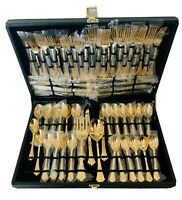 WM Rodgers & Son Gold Plated Flatware - 12 place settings - eating utensils -