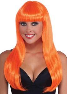 Neon Long Wig 80's Club Retro Fancy Dress Halloween Costume Accessory 4 COLORS
