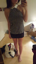 S 8 ASOS AX Paris Blue Green Gingham Check Collo Blusa Top Senza Maniche