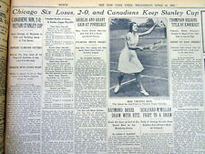 12 1931 NY Times newspapers MONTREAL CANADIENS WIN NHL ice hockey STANLEY CUP