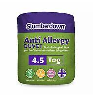 Slumberdown Anti Allergy 4.5 Tog Duvet, Microfibre, White Single