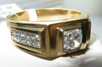 Mens gold ring signet cz cubic zirconia 1.5ct 18kt pinky all sizes realistic 222