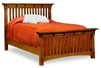 Amish Arts & Crafts Mission Slat Bed Solid Wood Exposed Tenons King Queen