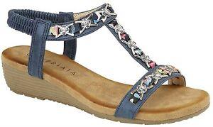 Cipriata womens jewelled slingback low wedge heel sandals 072 Col Blue  sz UK 5