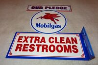 "VINTAGE MOBIL MOBILGAS PEGASUS CLEAN RESTROOMS 11 3/4"" METAL GAS OIL FLANGE SIGN"