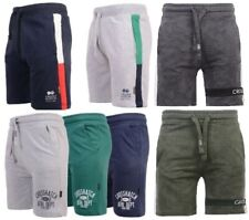New Mens Crosshatch Branded Half Pants Jogging Fleece Lined Drawcord Gym Shorts