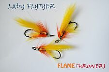 3x brand new FLAMETHROWERS size 10 salmon doubles ladyflytyer