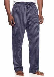 Saddlebred - NWT $30 - Men's S - Navy Blue Striped Woven 100% Cotton Sleep Pants