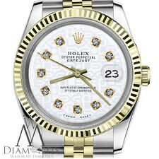 White Rolex Logo 36mm Datejust 18K & SS with Diamond Numbers Jubilee Watch