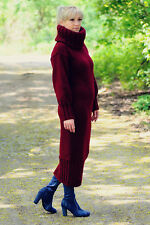 ANGORA Hand Knitted Dress Bordeaux Robe Sweater Mohair Wool Handmade NEW SALE ❤️